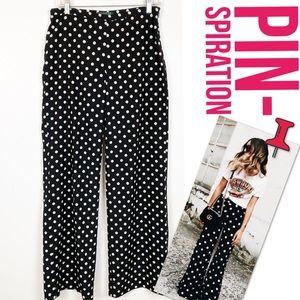 Lauren Polka Dot Wide Leg Flowy Pant Black White 4